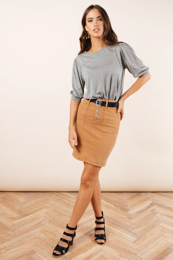 Flying Monkey Denim Skirt in Camel