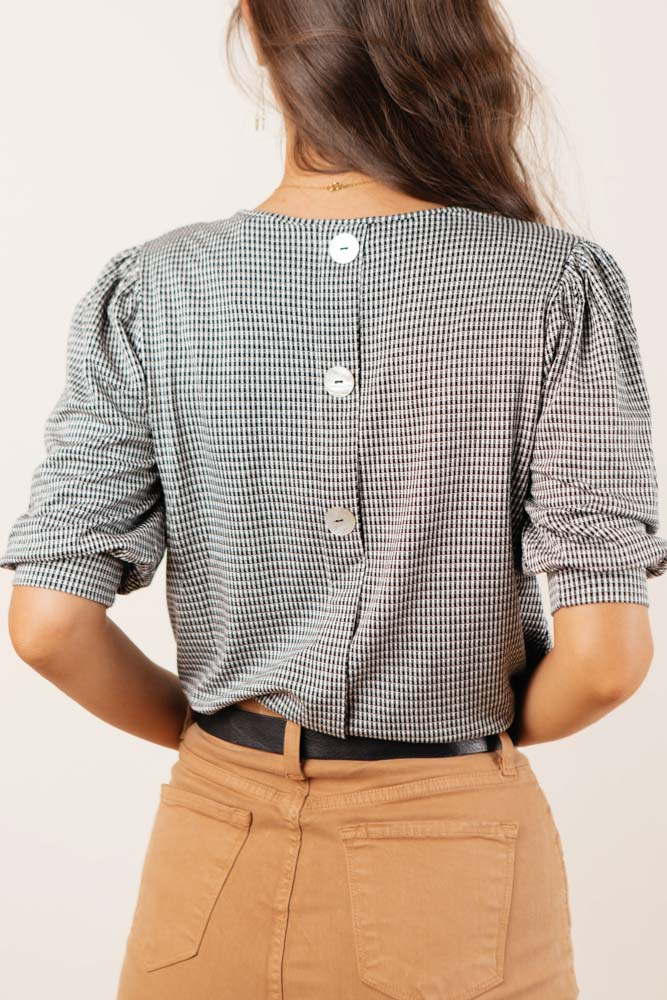 Halle Button Back Top