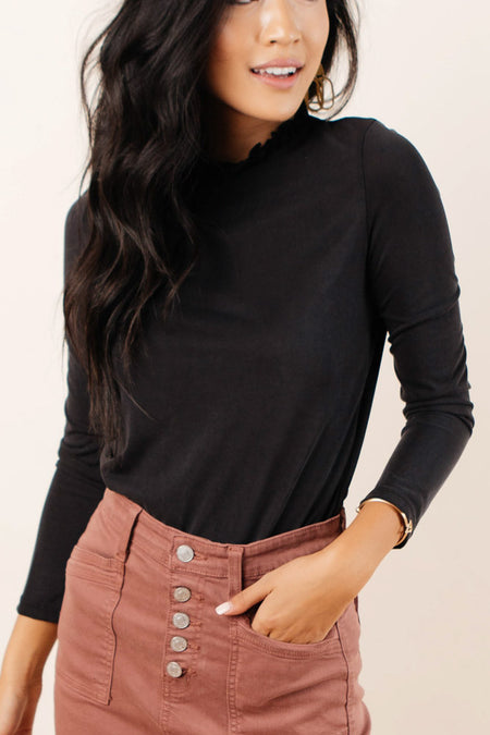 Jackie Ruffle Neck Top in Black