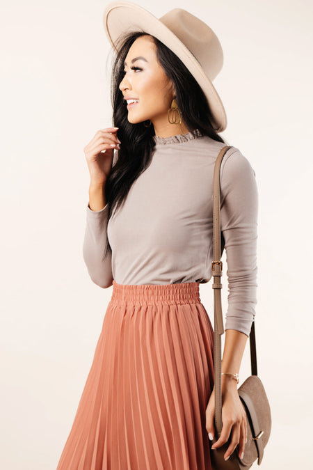 Jackie Ruffle Neck Top in Taupe