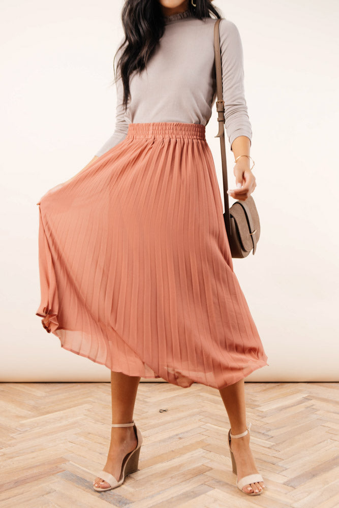 Robin Pleated Midi Skirt in Coral