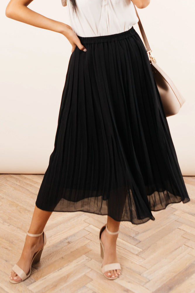 Casey Pleated Skirt in Black - FINAL SALE