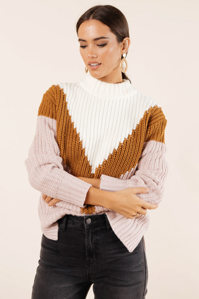 Emmie Knit Sweater in Mauve