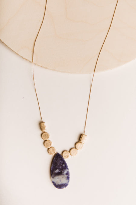 Cece Gold Necklace in Blue