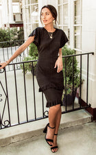 Ivah Fitted Patterned Dress in Black