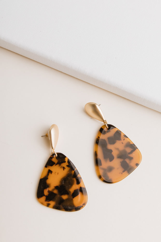 Tortoiseshell Tear Drop Earrings