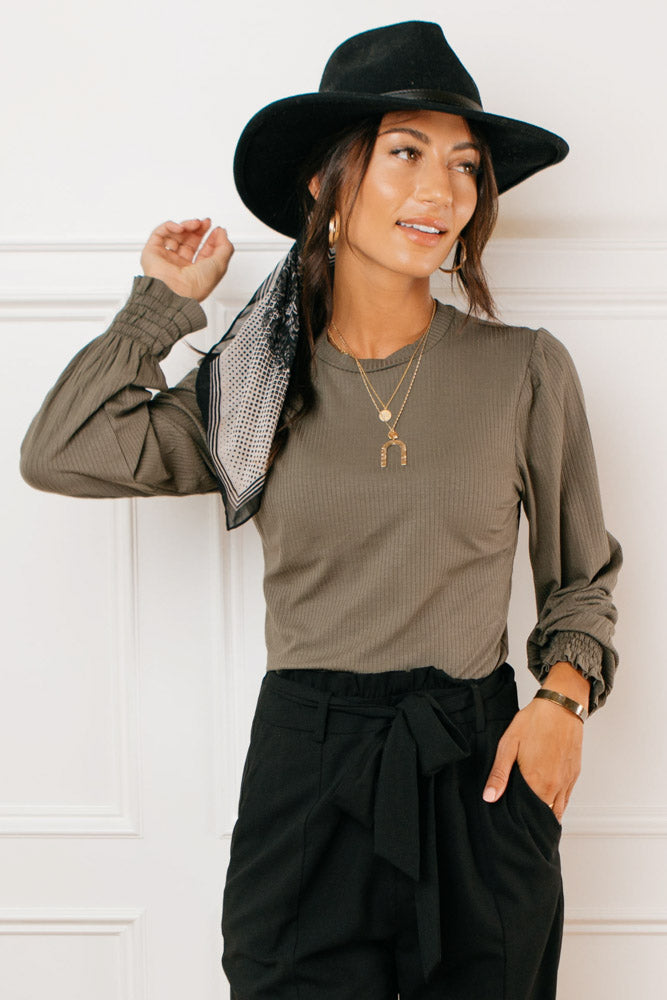 Aria Ribbed Top in Olive
