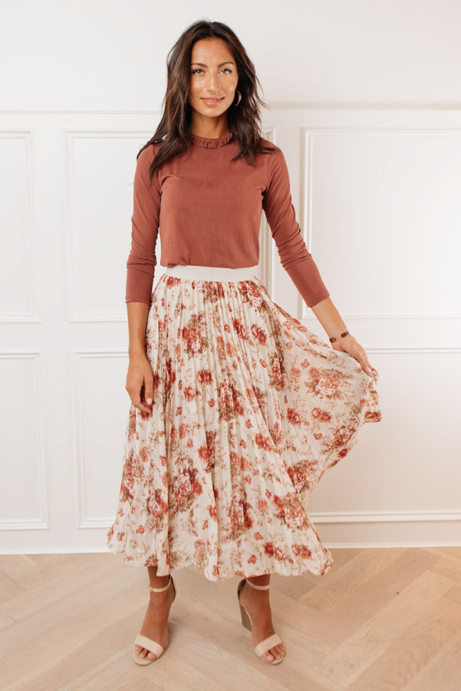 Karlee Floral Pleated Skirt