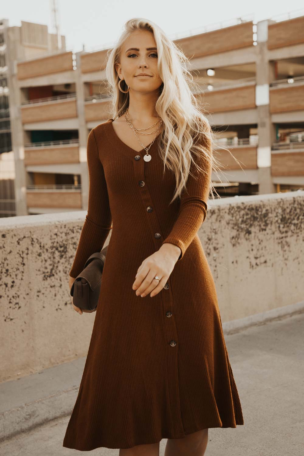 Button Down Knit Dress in Cognac