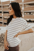 Striped Puff Sleeve Tee in White