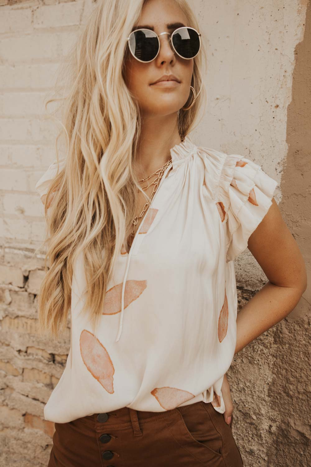 Ruffle Sleeve Tie Neck Blouse in Blush Pink