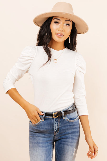 Milan Puff Sleeve Top in White
