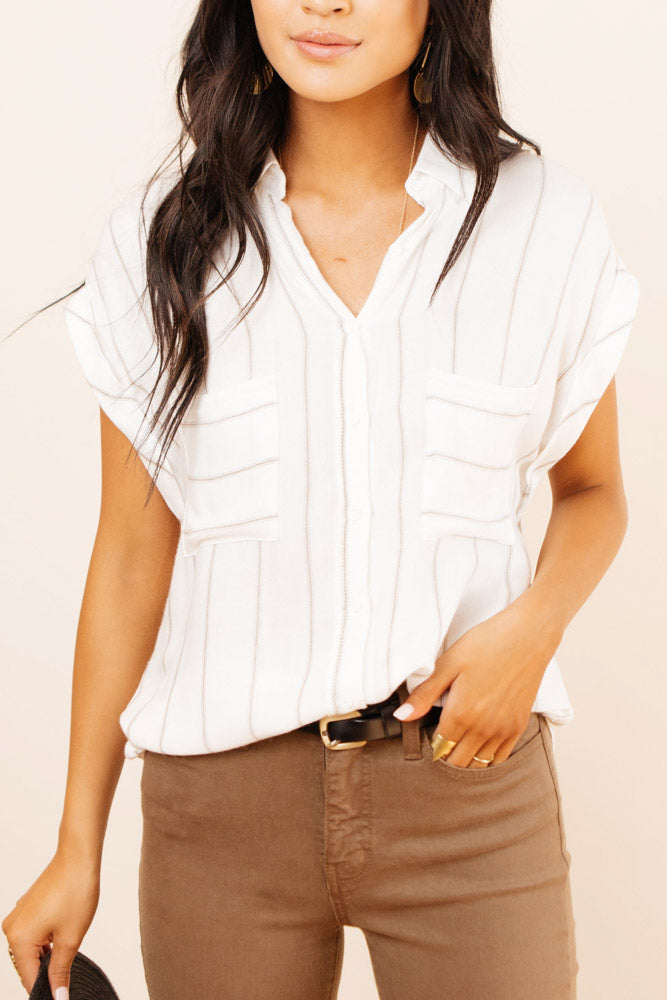 Poppy Striped Button Down in Taupe