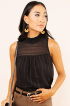 Jane Mock Neck Tank in Black