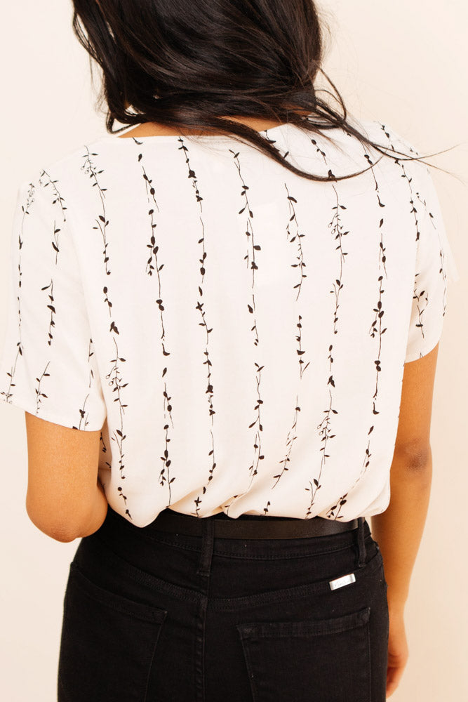Vine Patterned Top in Cream