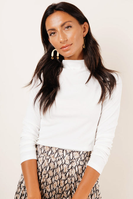 Jayde Mock Neck Top in White