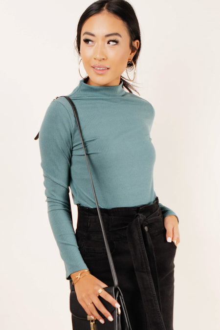 Jayde Mock Neck Top in Green