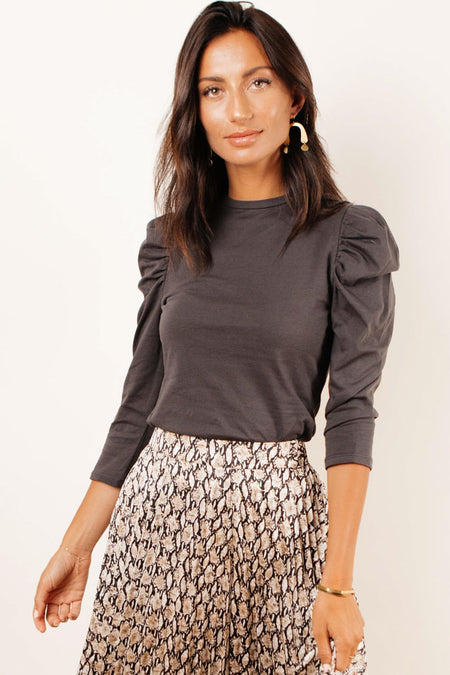 Milan Puff Sleeve Top in Black