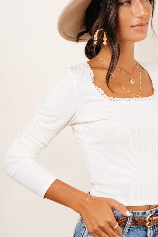 Angela Lace Crop Top in White