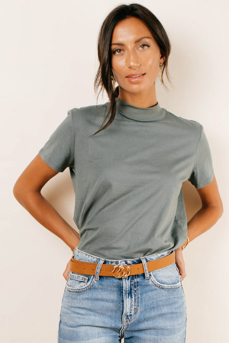 Clara Mock Neck Tee in Teal