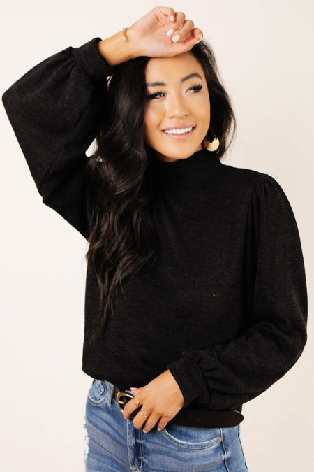 Lydia Button Back Sweater in Black