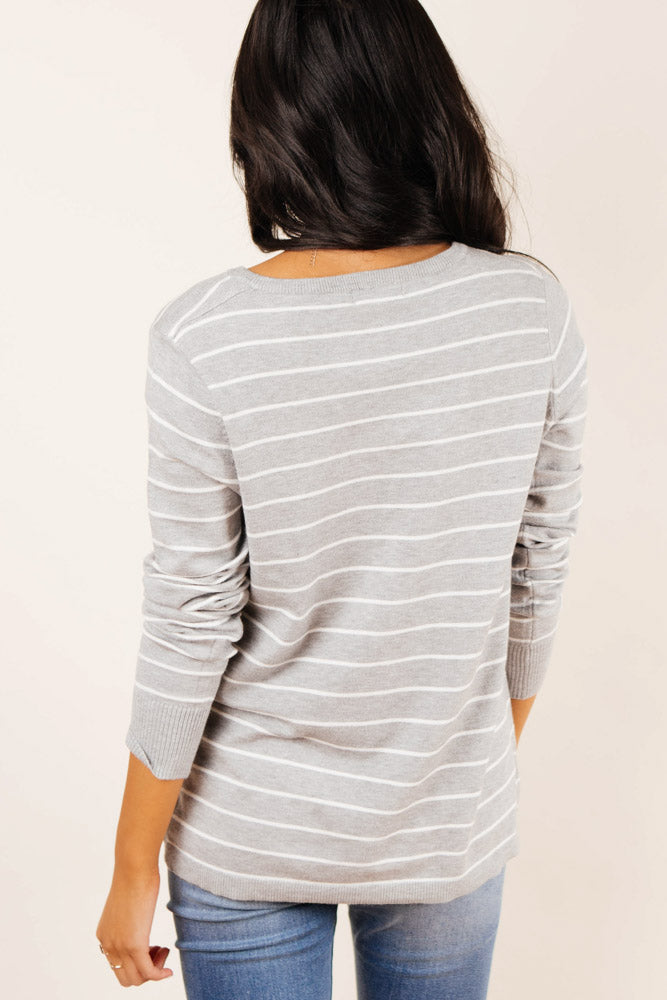 Jordyn Striped Sweater in Grey