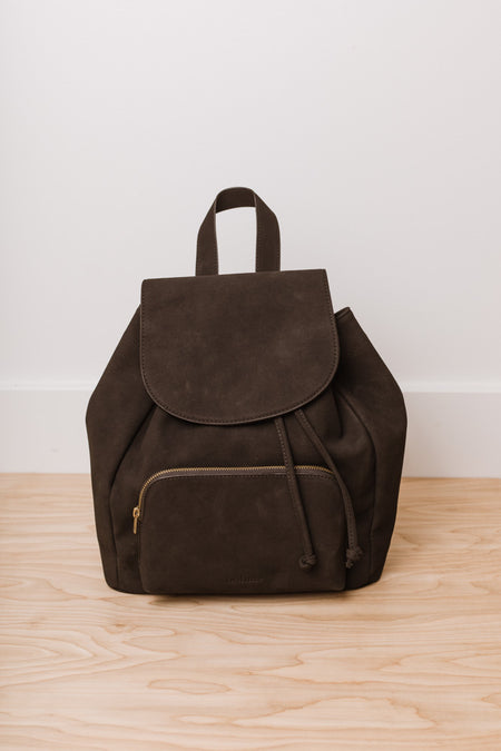 Olivia Drawstring Backpack in Black
