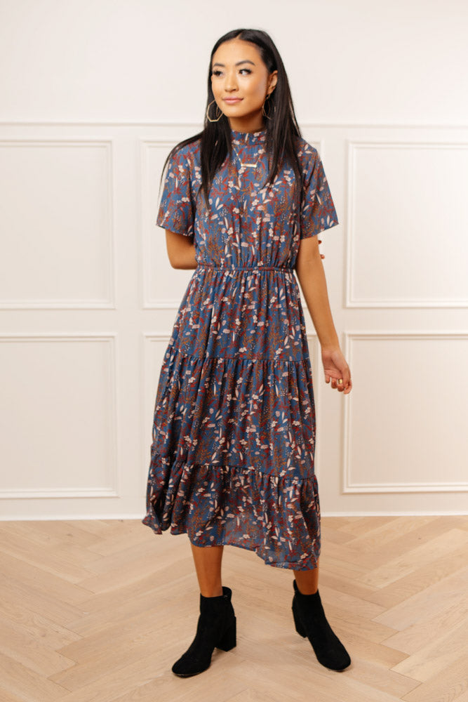 Zeus Floral Midi Dress in Blue