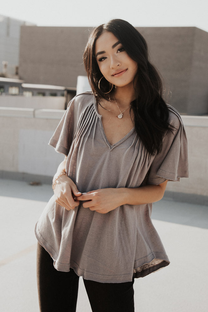 Flutter Sleeve Pintuck Tee in Grey - FINAL SALE