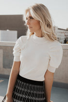 Fitted Puff Sleeve Top in Ivory
