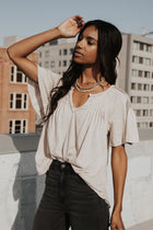 Flutter Sleeve Pintuck Tee in Taupe - FINAL SALE