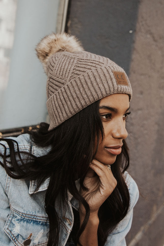C.C. Heather Puff Beanie in Dark Taupe