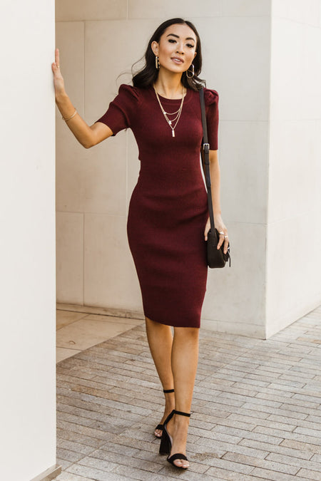 Camille Sweater Dress in Burgundy-FINAL SALE