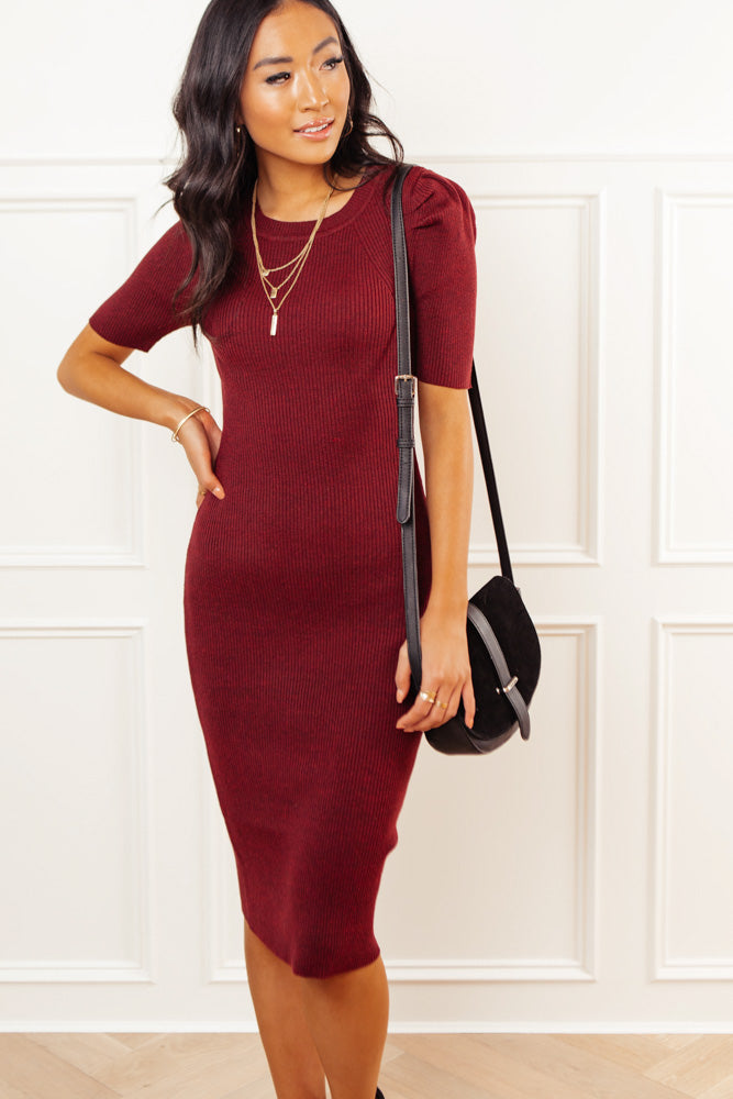 Camille Sweater Dress in Burgundy
