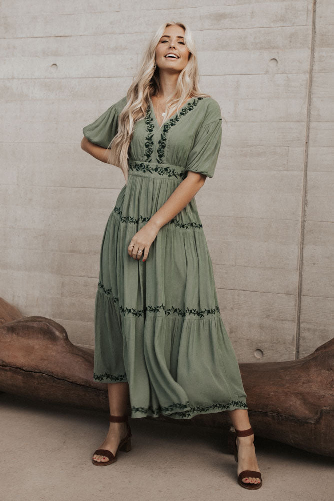 Willow Embroidered Maxi Dress in Sage