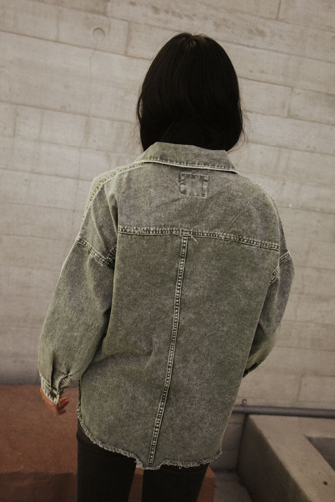 Acid Wash Denim Jacket in Olive Green