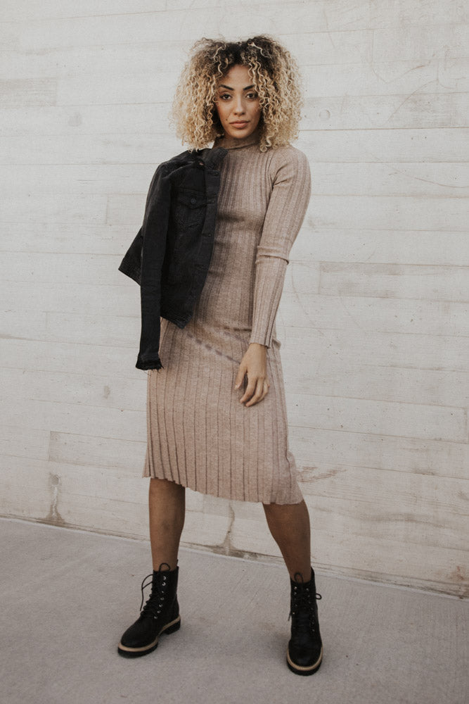 Miriam Sweater Dress in Sand-FINAL SALE