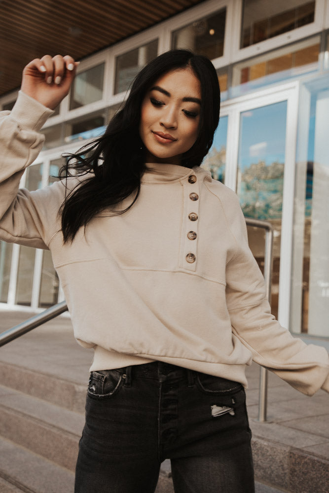 Button Front Cropped Hoodie in Oatmeal