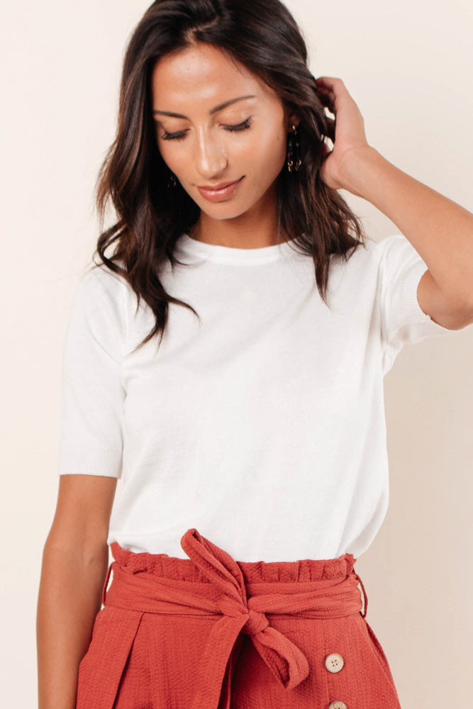 Daily Prep Short Sleeve Sweater in Ivory