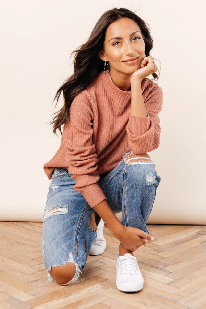 Hannah Mock Neck Sweater in Pink