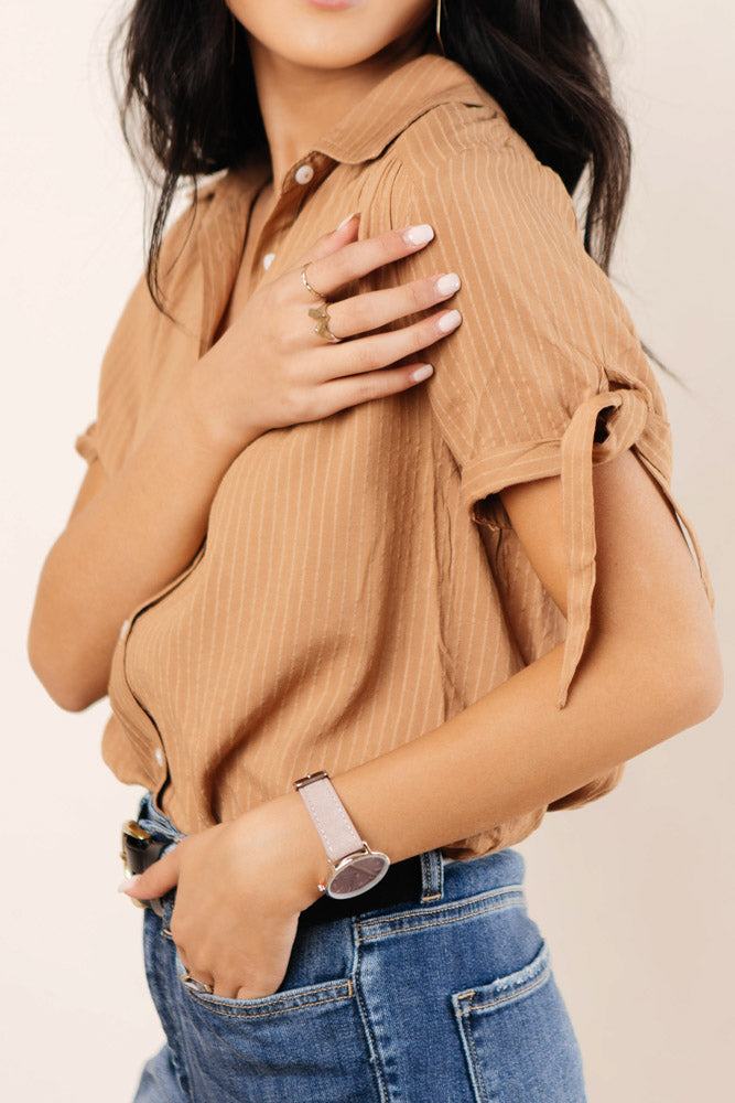Kenley Button Down in Caramel