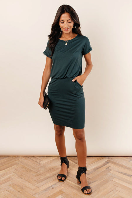 Audrey Dress in Hunter Green