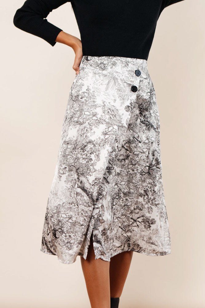 Charcoal Sketch Midi Skirt - FINAL SALE