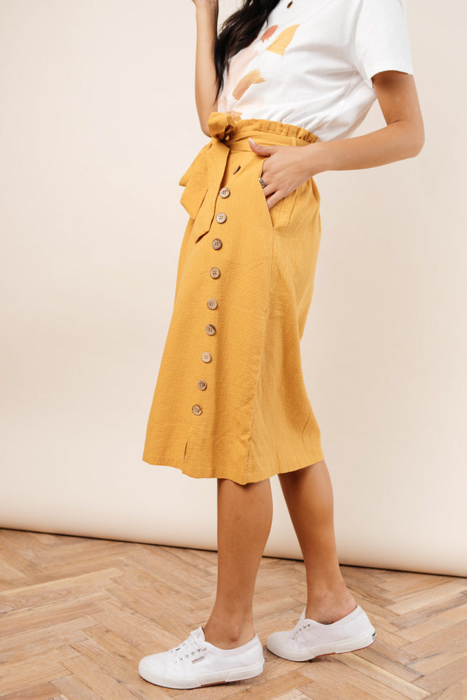 Ginger Midi Skirt in Mustard