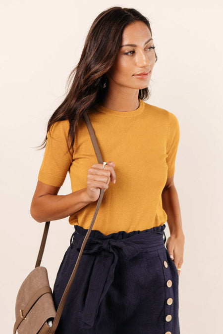 Daily Prep Short Sleeve Sweater in Mustard