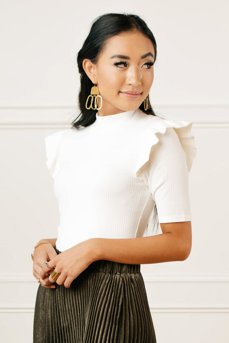 Carolina Ruffle Shoulder Top in Ivory