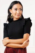 Carolina Ruffle Shoulder Top in Black