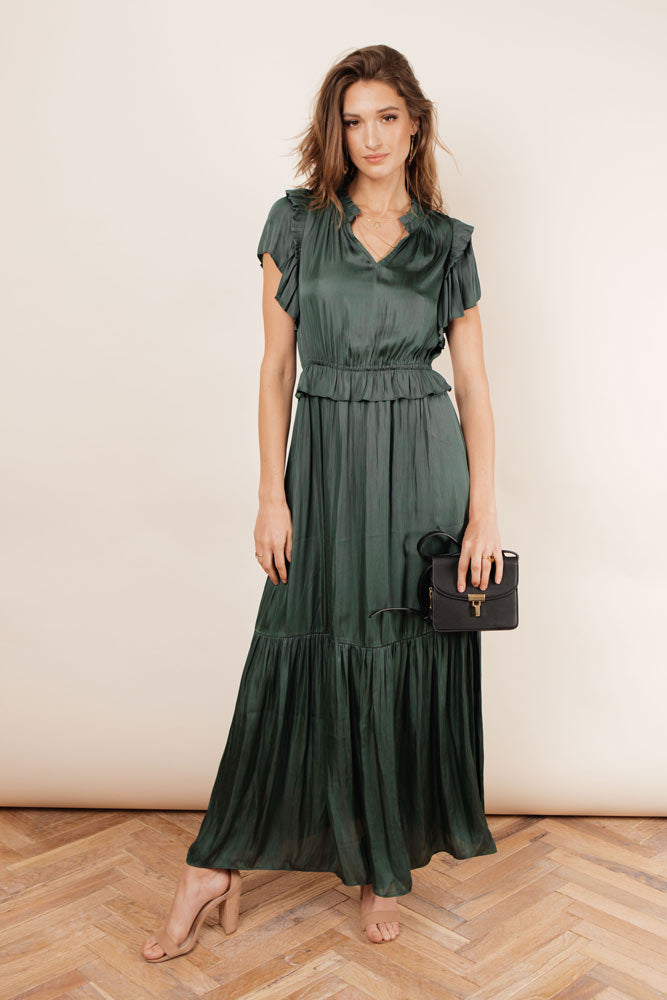Marley Flutter Sleeve Dress in Green
