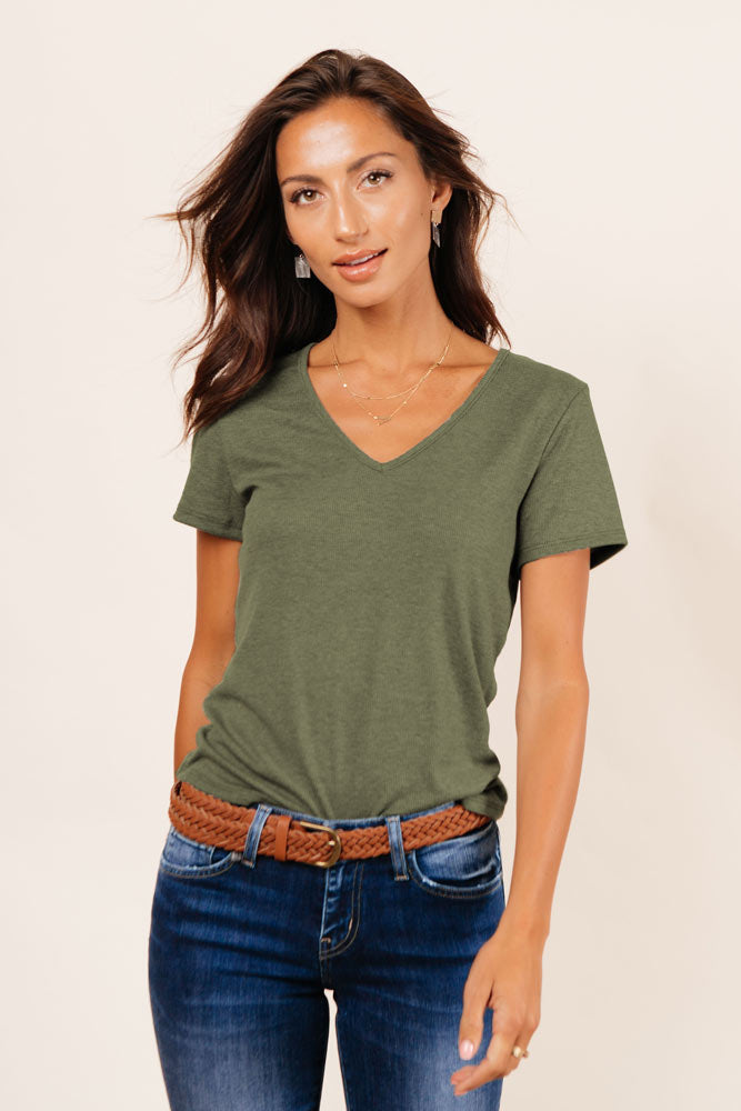 Essentials Ribbed Tee in Olive