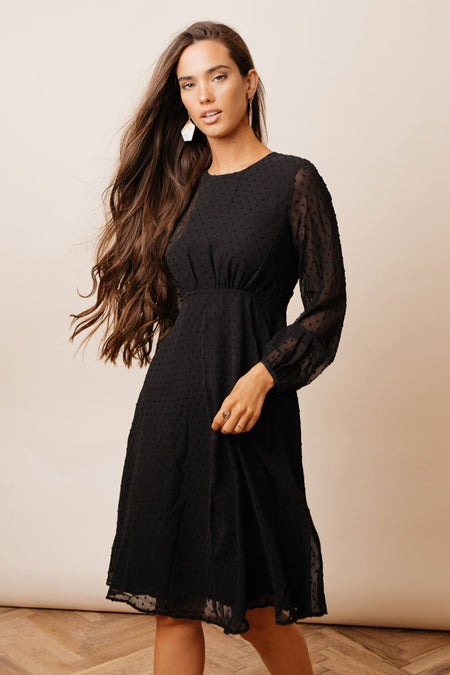 Daniela Polka Dot Dress in Black
